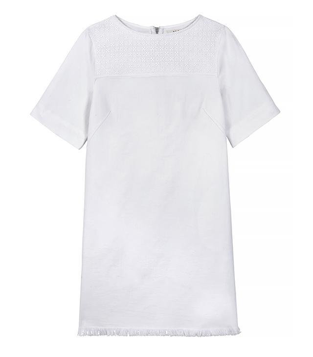 MiH Jeans Guipure Lace-Paneled Stretch-Denim Mini Dress