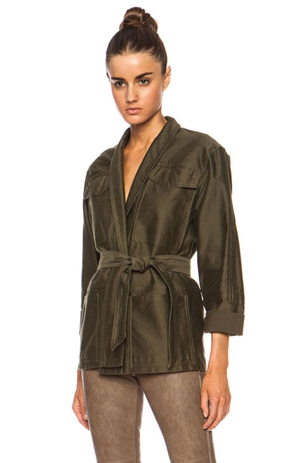 Isabel Marant John Cotton Satin Robe Wrap Jacket