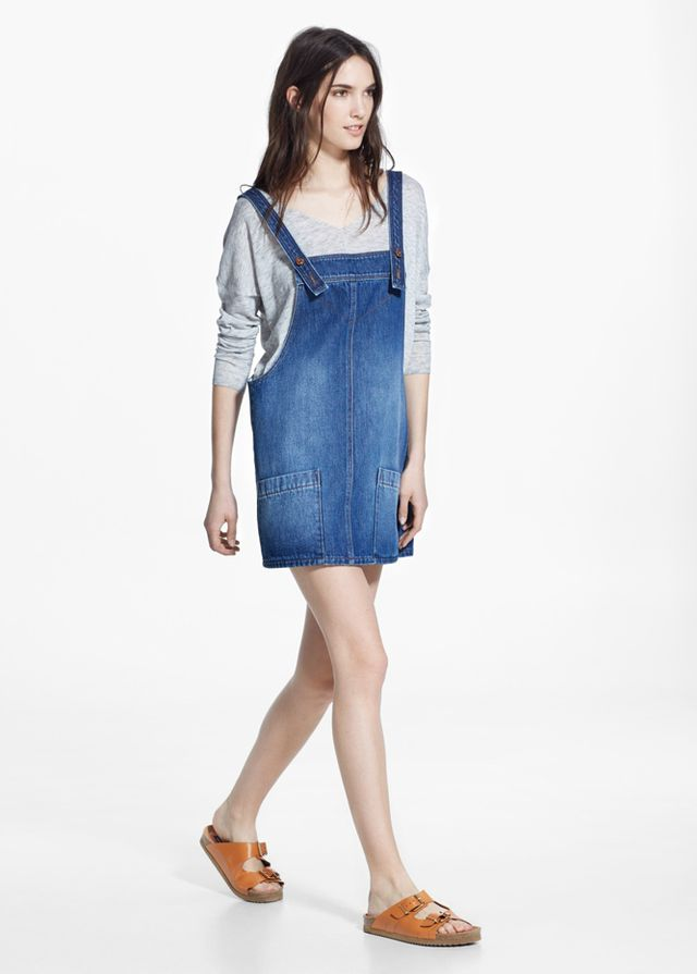 Mango Medium Denim Pinafore Dress