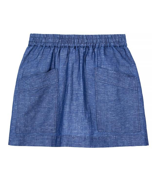 MiH Jeans Sleri Linen and Cotton-Blend Chambray Mini Skirt