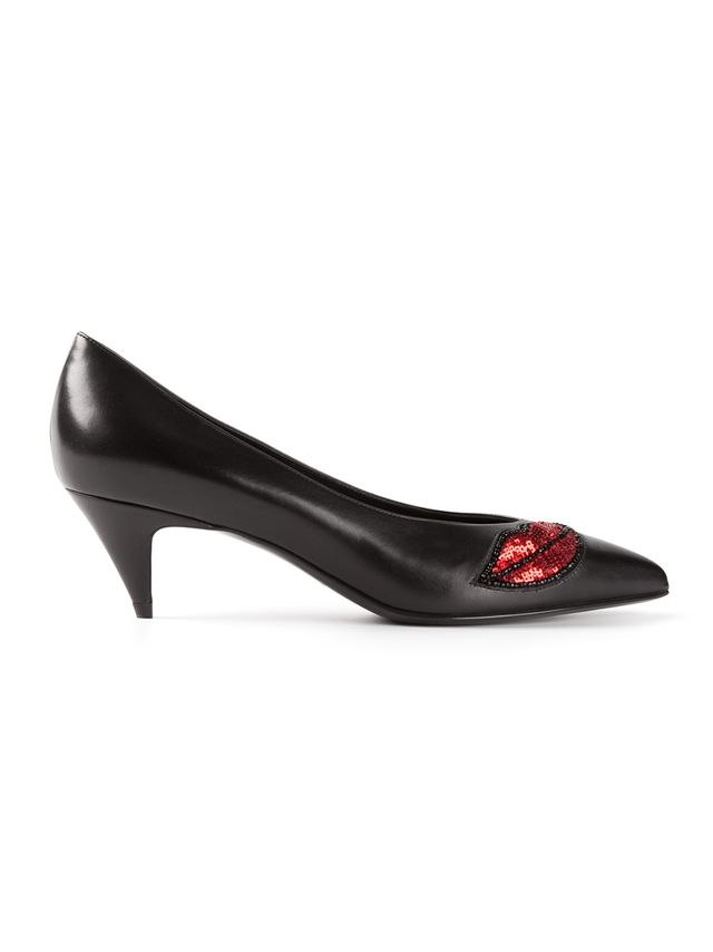 Louis Vuitton Black Leather Pointed Toe Red Lips Detail Kitten Pumps