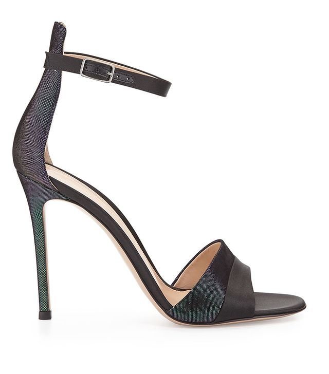 Gianvito Rossi Holographic Satin Ankle-Strap Sandals
