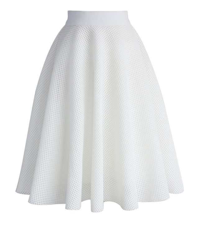 ChicWish Pure White Mesh A-Line Skirt