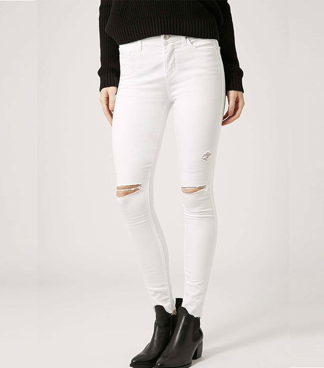 Topshop Moto White Ripped Leigh Jeans