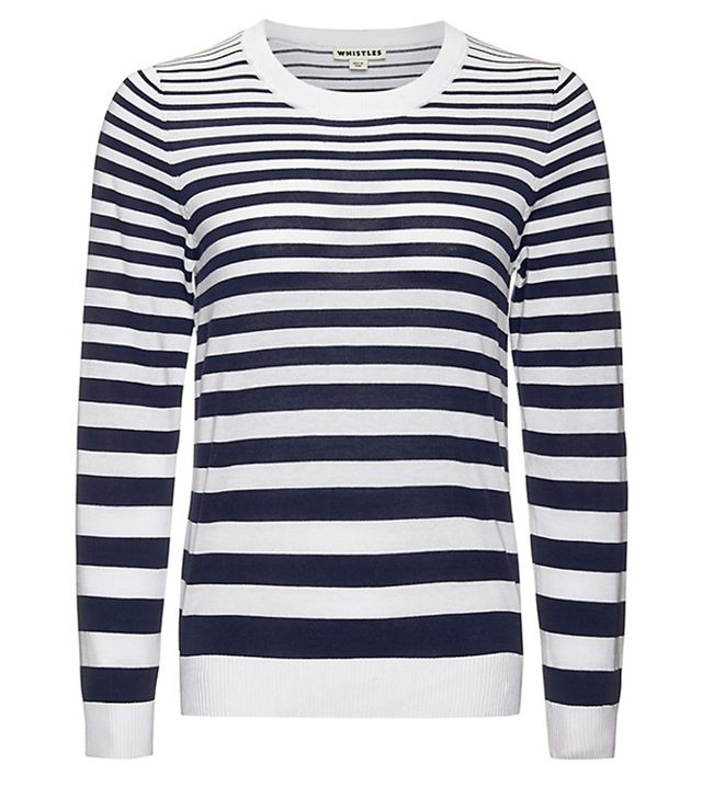 Whistles Striped Size Zip Knit Jumper