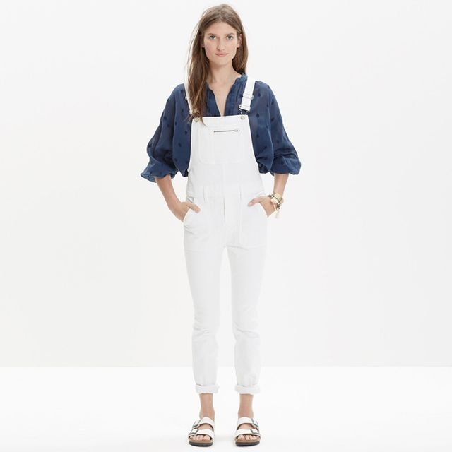 Madewell White Denim Side-Zip Overalls