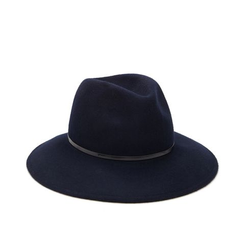 Faux Leather-Trimmed Fedora