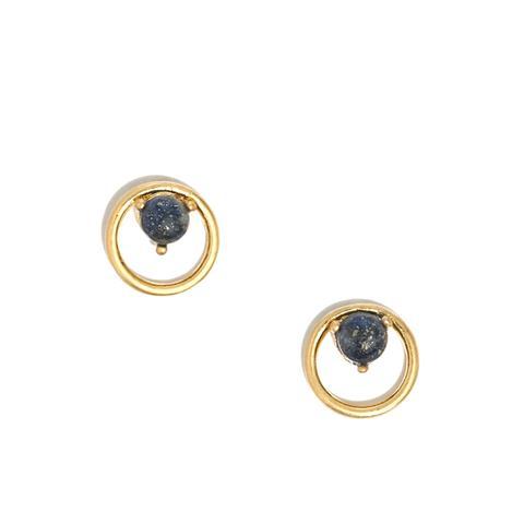 Lapis Circle Stud Earrings