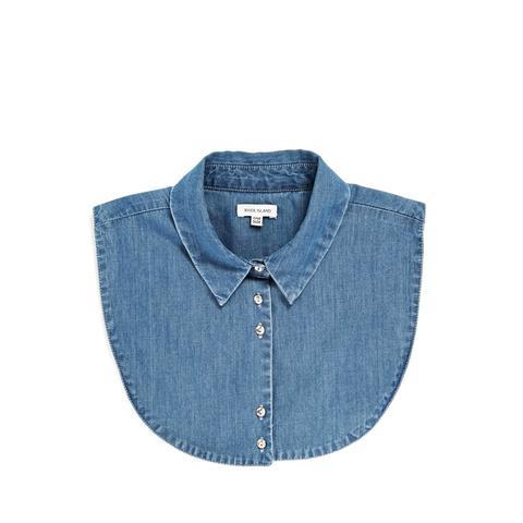 Denim Collar Shirt Bib