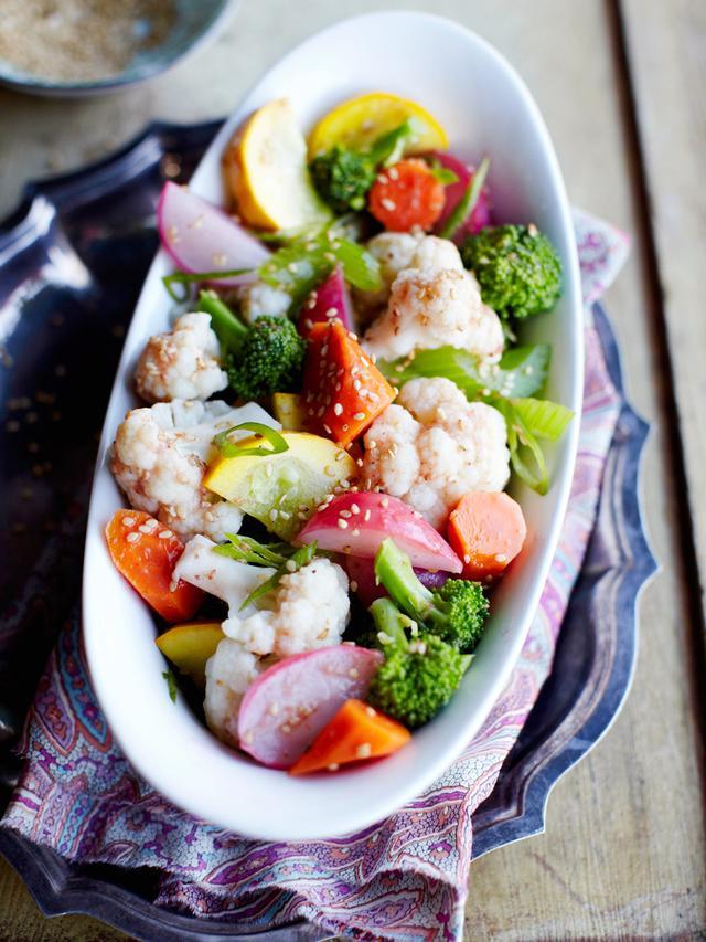 Boiled Vegetable Salad With Umeboshi-Scallion Dressing