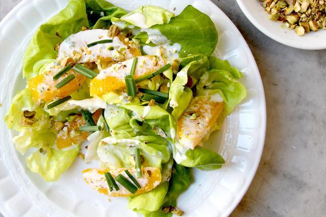 Butter Lettuce Salad With Pistachios and Orange Créme Fraiche Dressing