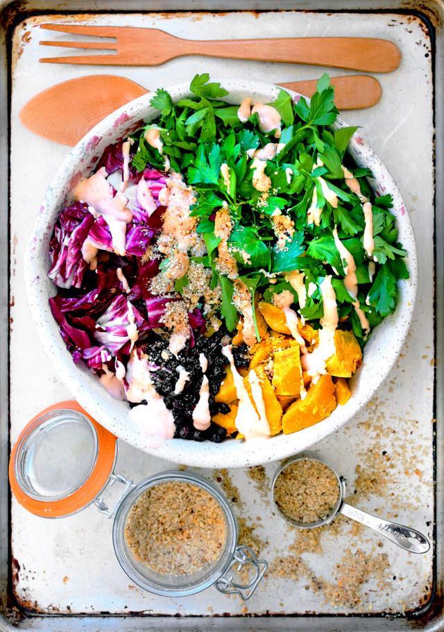 Parsley Salad With Dukkah, Radicchio, Kabocha, and Harissa Yogurt