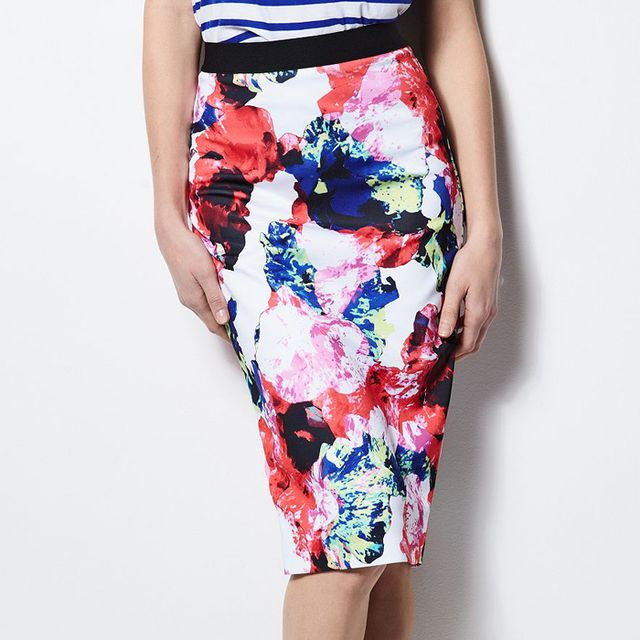 Milly for DesigNation Abstract Floral Midi Scuba Skirt