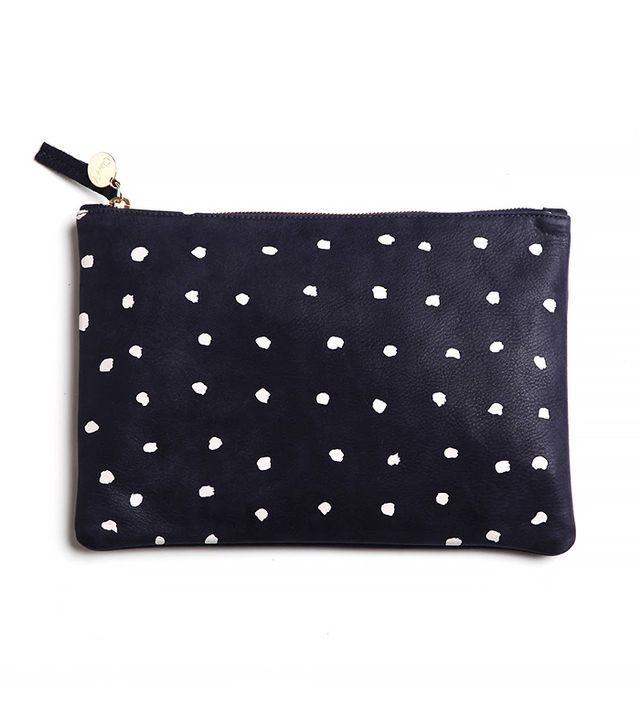 Clare Vivier Navy Flat Clutch with White Mini Spots