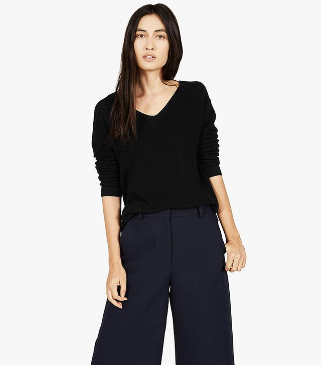 Everlane The Cotton Sweater V-Neck in Black