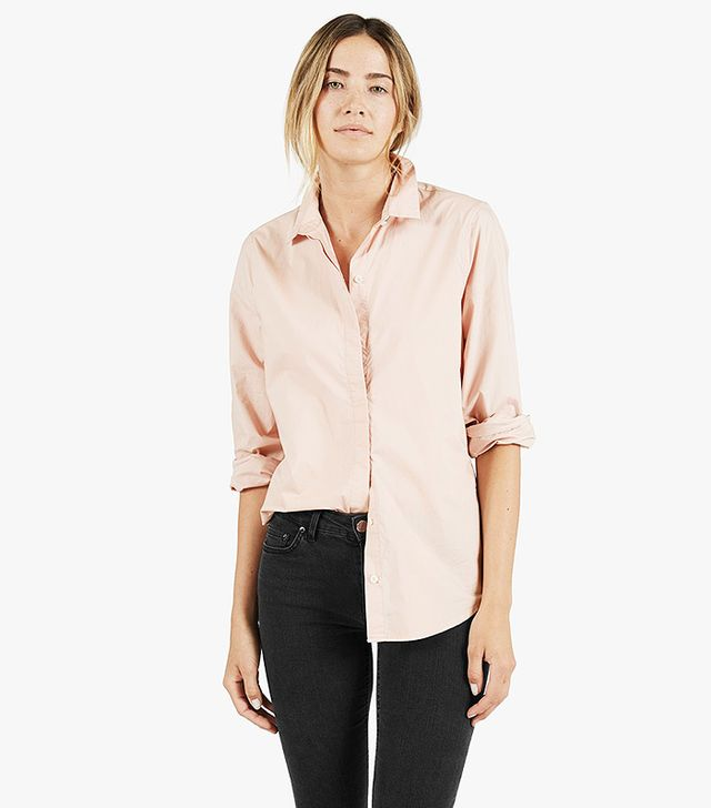 Everlane The Long Sleeve in Pink Poplin