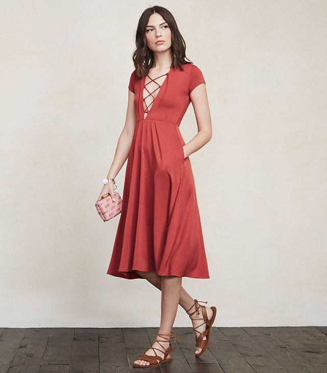 Reformation Sandy Dress in Elder Flower