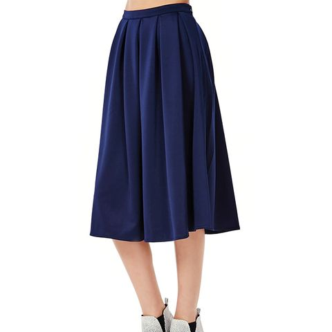 Auberta Pleated Midi Skirt in Navy
