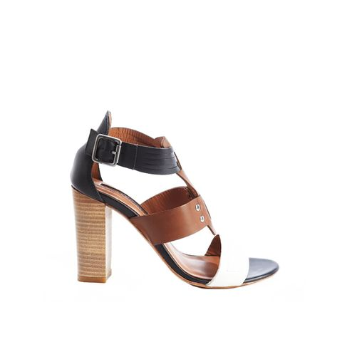 Black And Tan And White Leather Anklestrap 'Garreau' Sandals