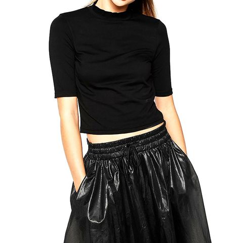 Monki Cropped Step Neck Top