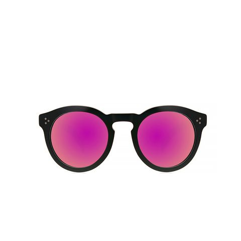 Leonard II in Black With Pink Mirrored Lenses