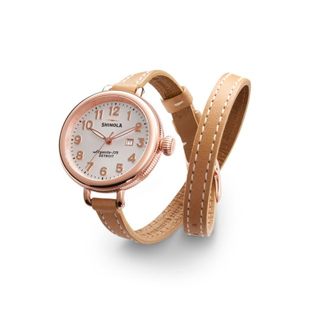 Shinola The Birdy 34mm Double Wrap Leather Strap Watch
