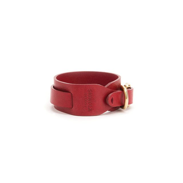 Shinola Wide Double Wrap Leather Bracelet in Lollipop Red