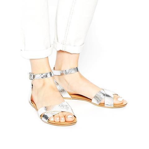 Silver Cross Strap Flat Sandals