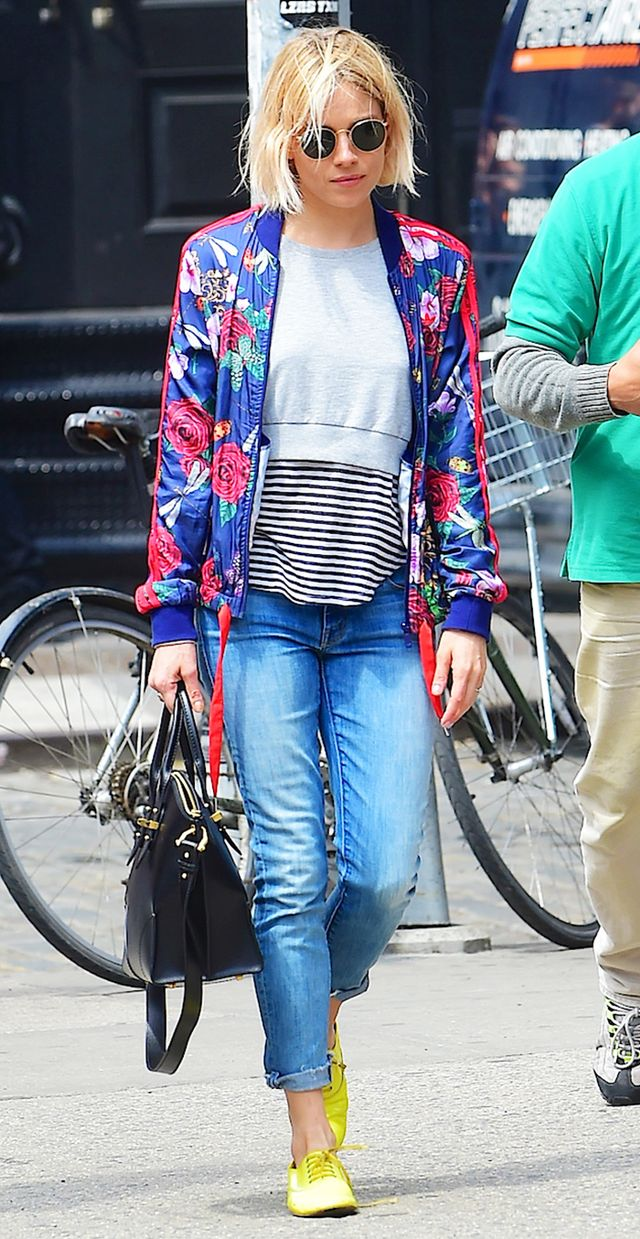 Sienna Miller: Bomber Jacket + Cropped Sweatshirt + Striped Top