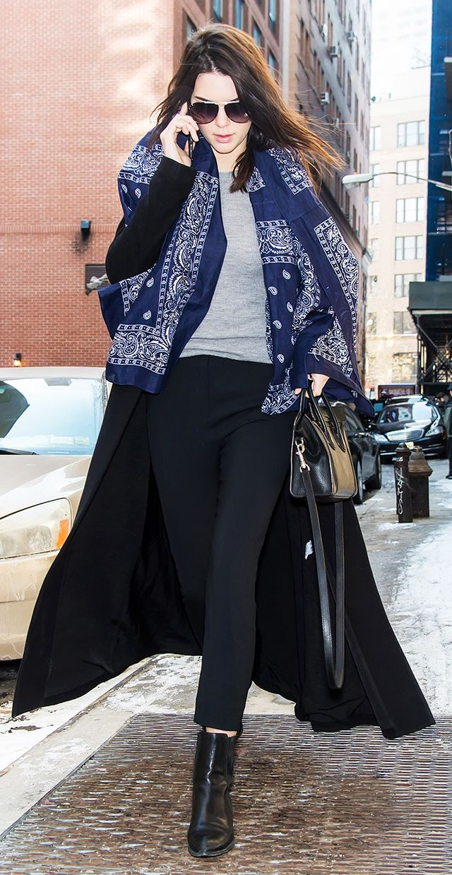 Kendall Jenner: Duster Jacket + Tank + Lightweight Scarf