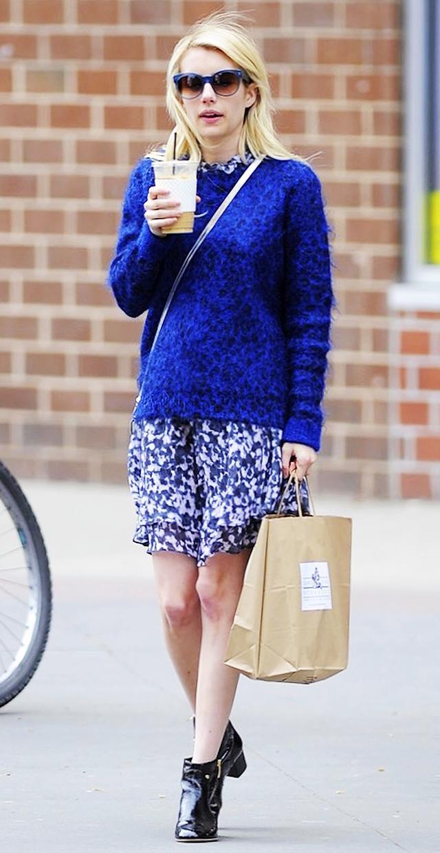 Emma Roberts: Oversized Sweater + Mini Dress