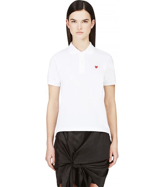 Comme des Garcons Play White Heart Patch Polo Shirt