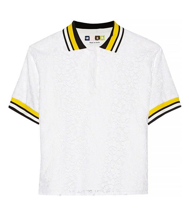 MSGM Cotton-Blend Lace Polo Shirt