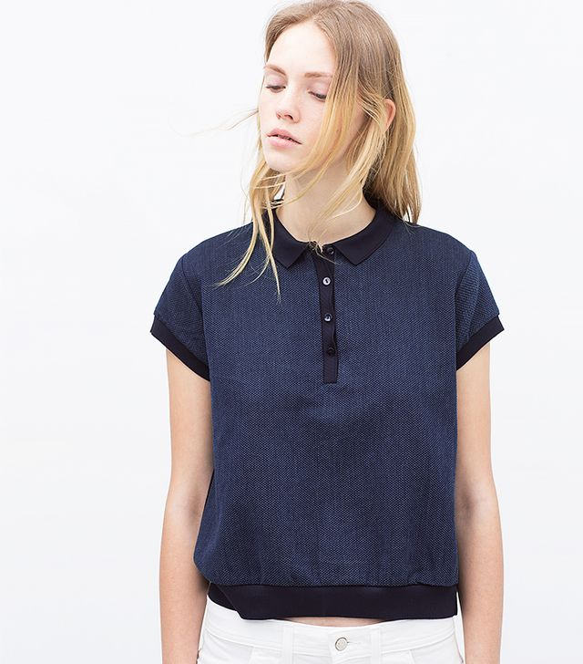 Zara Georgette Indigo Polo Shirt