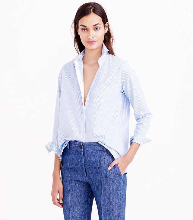 J.Crew Thin Stripe Cropped Button-Down Shirt