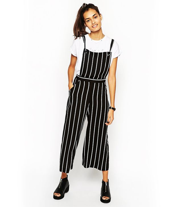 ASOS Jumpsuit With Pinafore In Stripe