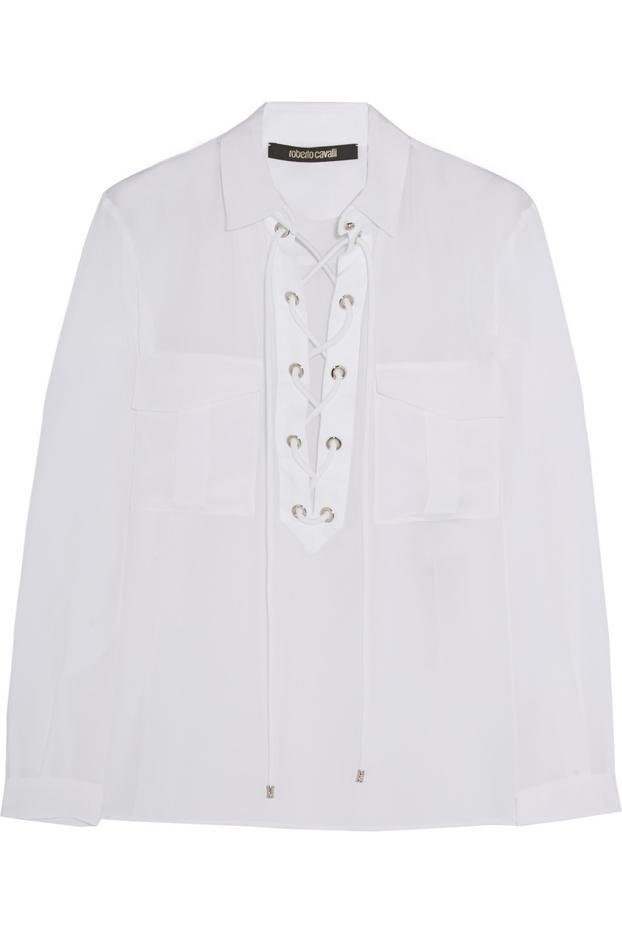 Roberto Cavalli Twill-Trimmed Lace-Up Silk Shirt
