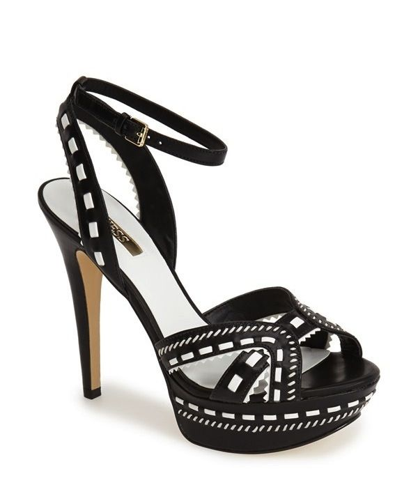 GUESS Odonna Snake Embossed Faux Leather Platform Sandal