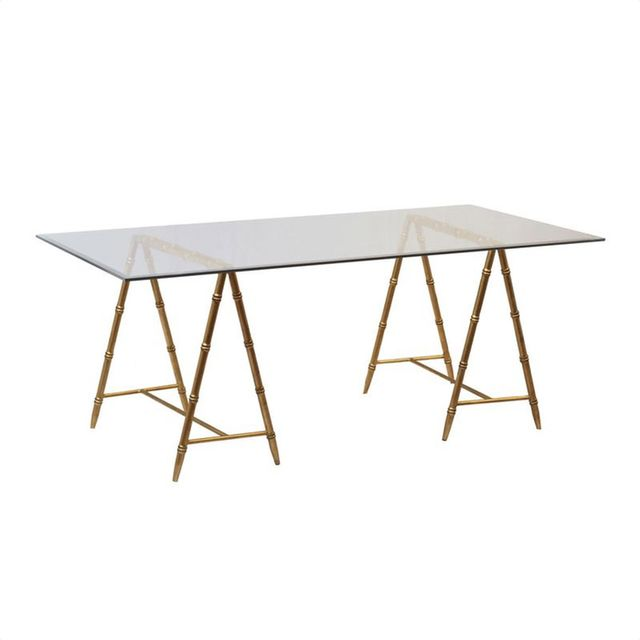 Scalamandre Maison Baldwin Gold Trestle Base Desk
