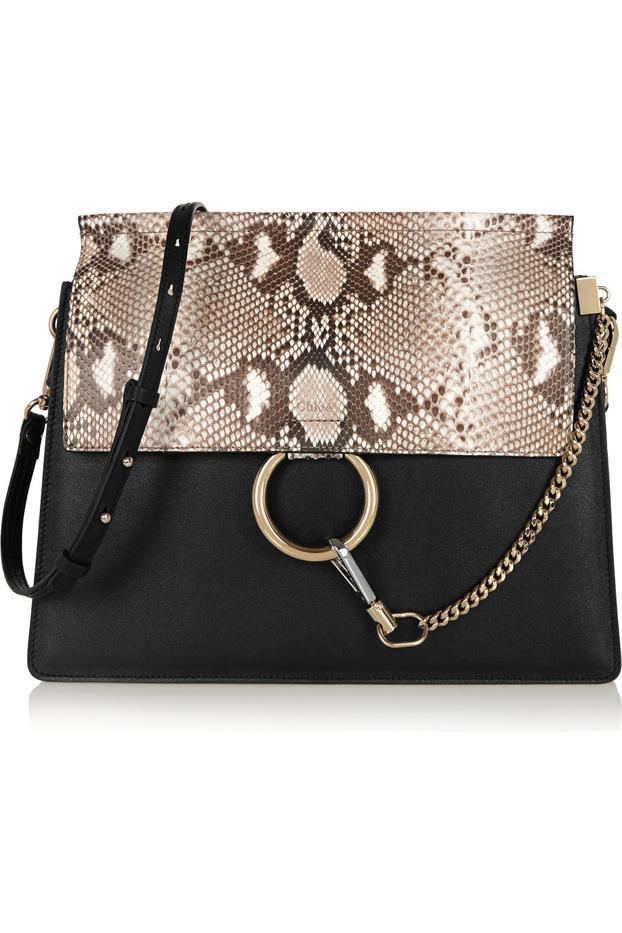 Chloé Faye Python and Leather Bag