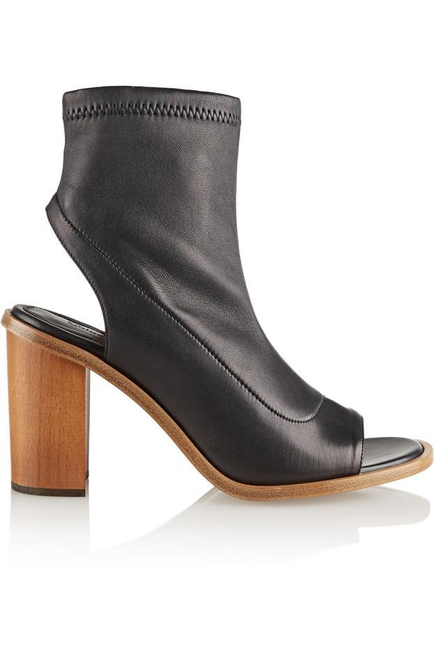 Chloé Cutout Leather Ankle Boots