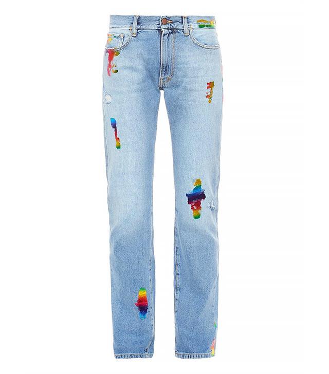 Aries Simon Rainbow-Foil Boyfriend Jeans