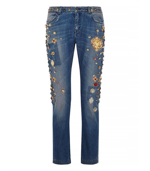 Dolce & Gabbana Embellished Mid-Rise Boyfriend Jeans