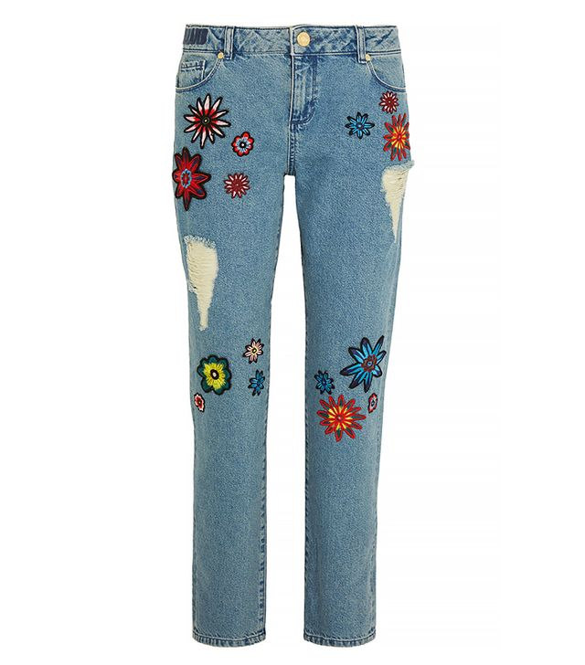 House of Holland Nancy Appliqued High-Rise Boyfriend Jeans