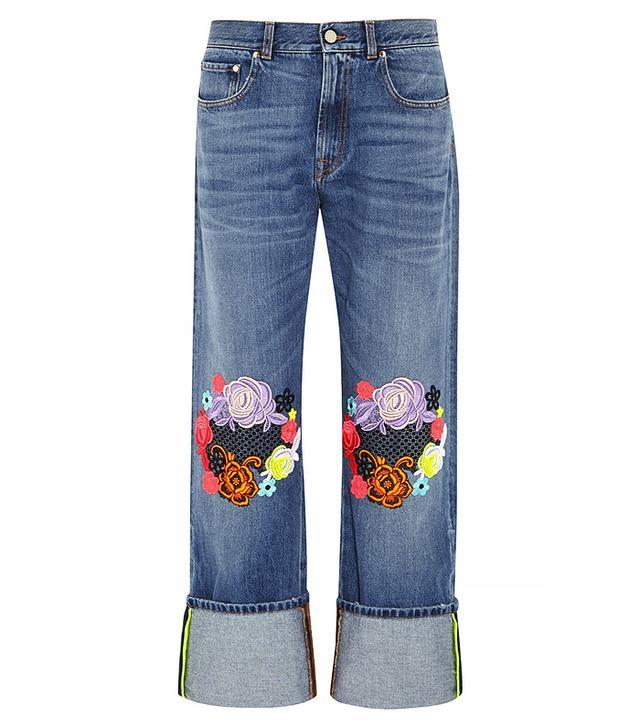Christopher Kane Guipure Lace-Appliqued Boyfriend Jeans