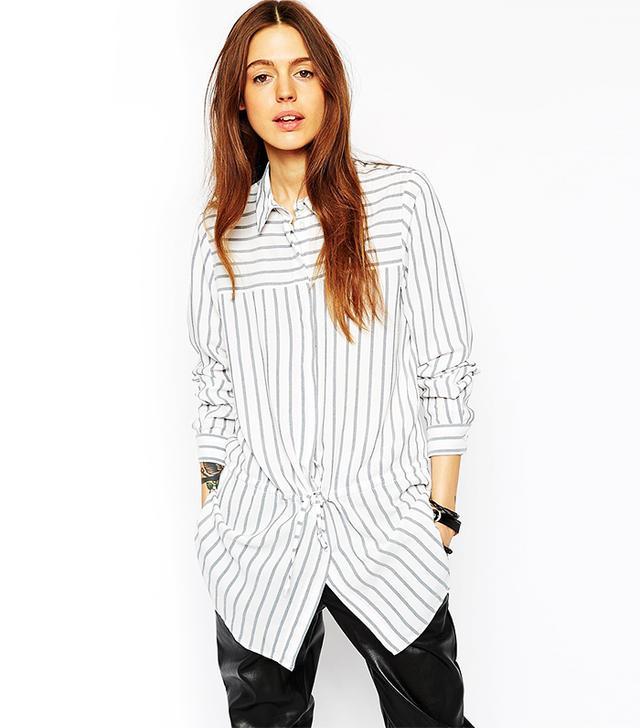 ASOS Drawstring Stripe Blouse