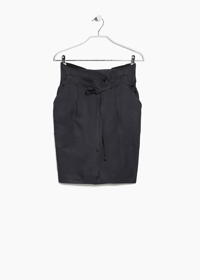 Mango Premium Linen-Blend Bow Skirt