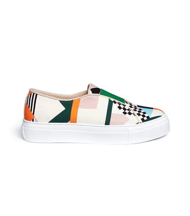 MSGM Geometric Print Fabric Slip-On Sneakers