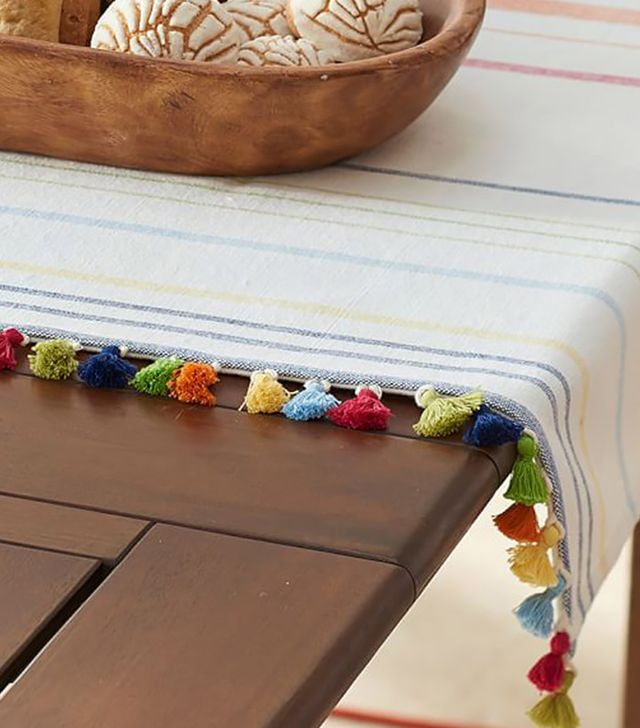 Pottery Barn Stripe Tassel Table Throw