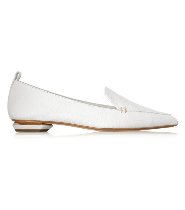 Nicholas Kirkwood Metallic Textured-Leather Point-Toe Flats